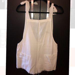 Zara white linen overall/swim coverup